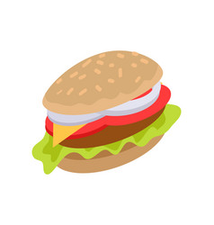 Hamburger icon in flat burger with meat cheese vector