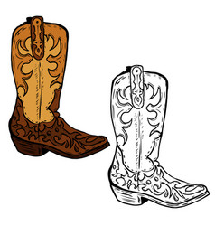 hand drawn cowboy boots design element for vector image