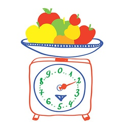 Healthy eating - scales with apples vector image vector image