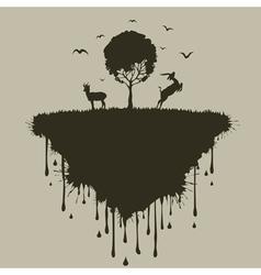 Island of deer vector image