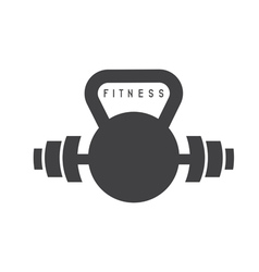Kettlebell and barbell fitness design template vector