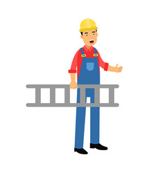 male construction worker character carrying a vector image