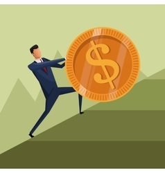 Man business growth coin climb work vector