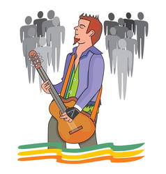 man playing the guitar vector image vector image