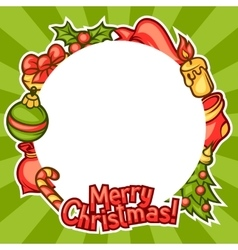 Merry Christmas invitation frame with holiday vector image