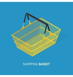 Metal empty shopping basket vector