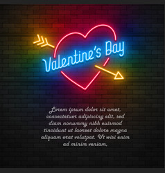 neon light valentines day card vector image vector image