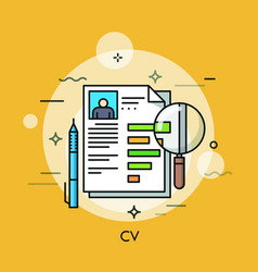 Paper document with curriculum vitae pen and vector