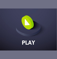 play isometric icon isolated on color background vector image