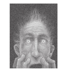 Scared male face halftone vector image
