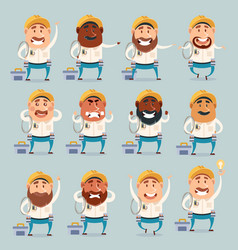 Set of electrician flat icons vector