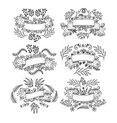 set of floral design elements drawn by hand vector image vector image