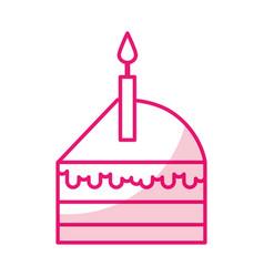 Shadow cute cake slice cartoon vector