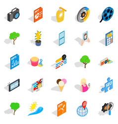 Snapshot icons set isometric style vector