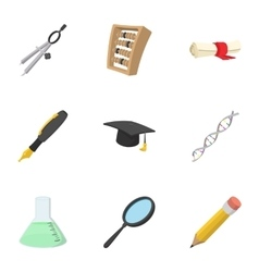 Student icons set cartoon style vector