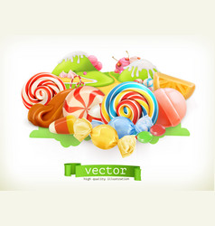 sweet shop swirl candy lollipop caramel candy vector image vector image