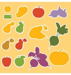 Templates for labels vegetables and fruits vector image vector image