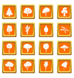 trees icons set orange vector image