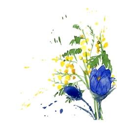 Watercolor style of snowdrops vector
