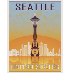 Seattle vintage poster vector