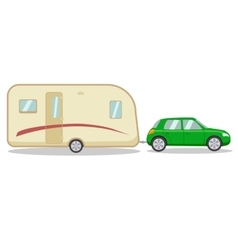 Car with the house on wheels trailer vector