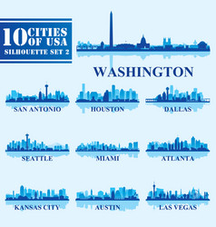 silhouettes cities of usa set 2 on blue background vector image