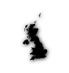 Map of great britain with shadow vector