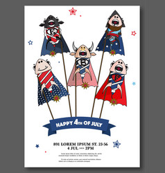 usa independence day card 4th july vector image
