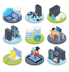 Isometric system administrator server room vector