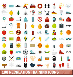 100 recreation training icons set flat style vector