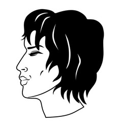 men curly hair had vector image