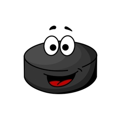 Black cartoon ice hockey puck vector