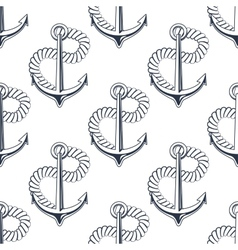 Marine anchor with curling rope vector