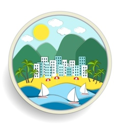 Badge depicting holidays at the sea vector
