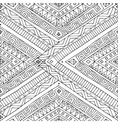 Seamless asian ethnic doodle black white pattern vector