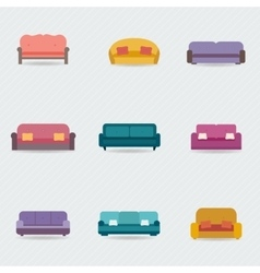 Sofa icons set vector
