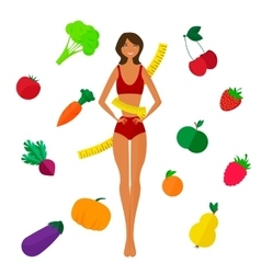 Slim black girl fresh fruits and vegetables vector