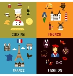 France travel journey and landscape icons vector
