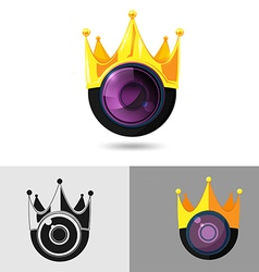 Camera Gold King Crown Logo vector image