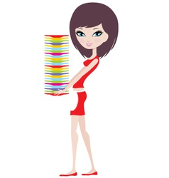 Girl holds a pile of plates vector