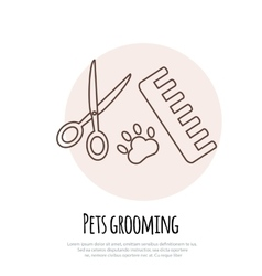 Scissors comb for cutting and grooming pets vector