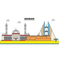 bahrain outline city skyline linear vector image vector image