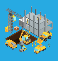 Building construction stage isometric transport vector