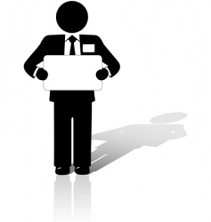 business man holds blank sign vector image