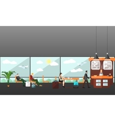 Cafe and waiting lounge room in airport terminal vector