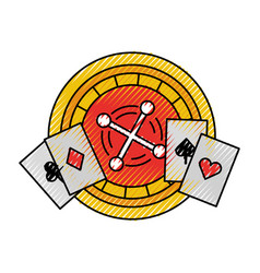 Casino roulette with poker cards vector
