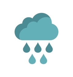 Cloud with rain drops icon flat style vector image