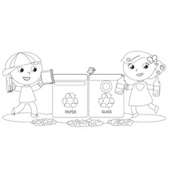 coloring children recycling vector image vector image