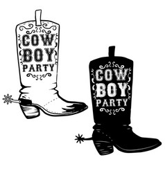 Cowboy party hand drawn cowboy boots design vector