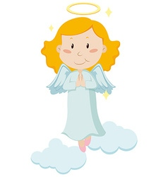 Cute angel flying in the sky vector image